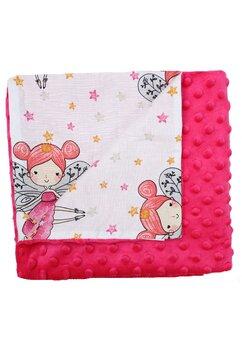 Paturica 2 fete, Minky roz, Printesa fluture, 80x100cm