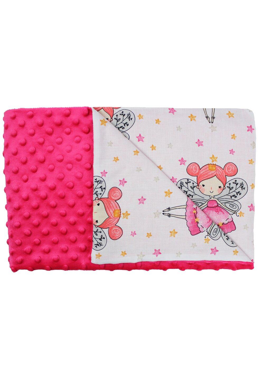 Paturica 2 fete, Minky roz, Printesa fluture, 80x100cm imagine