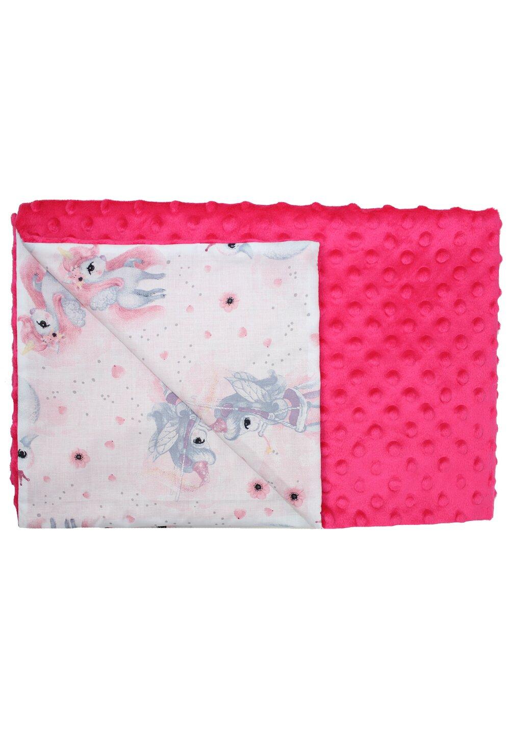 Paturica 2 fete, Minky roz, Unicornul roz, 80x100cm imagine