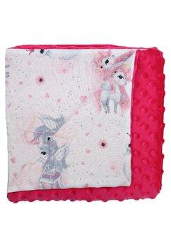Paturica 2 fete, Minky roz, Unicornul roz, 80x100cm