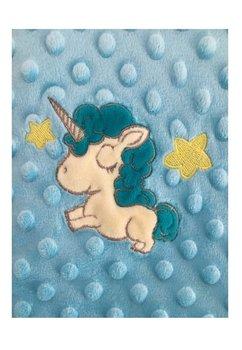 Paturica 2 fete, Minky, turcoaz cu unicorn, 80x100cm