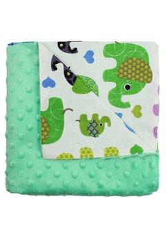 Paturica 2 fete, Minky verde, elefantei, 80x100cm