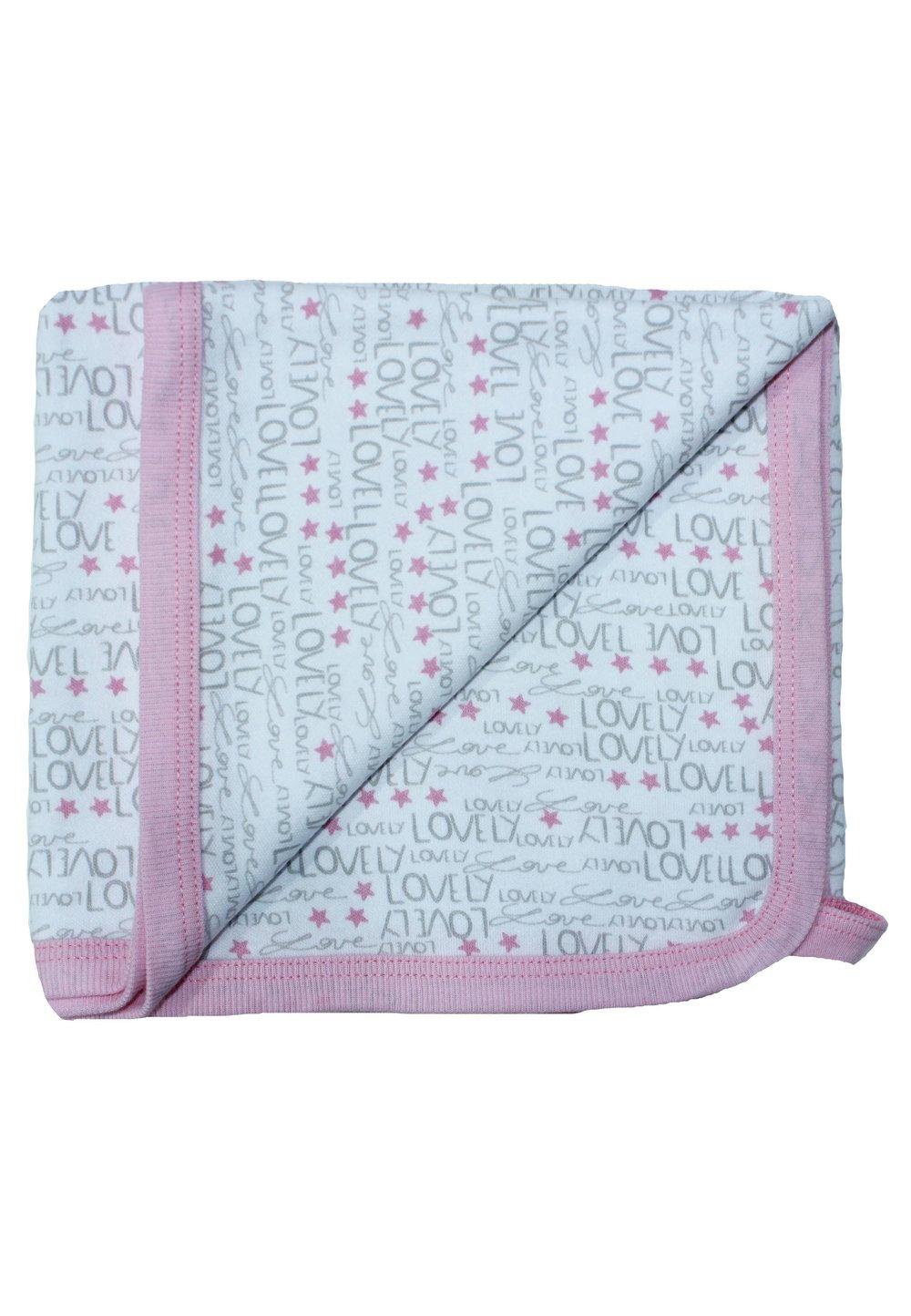 Paturica bumbac, alba cu gri si roz, Lovely, 80x90cm imagine