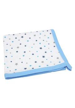 Paturica bumbac, alba cu stelute albastre si gri, 80x90cm