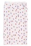 Paturica bumbac bebe, alba cu  labute catel, roz, 80x90 cm