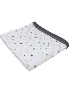 Paturica bumbac bebe, alba cu stelute galbene si gri, 80x90cm