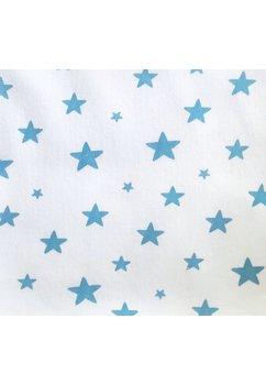 Paturica bumbac bebe, alba cu stelute albastre,80x90cm