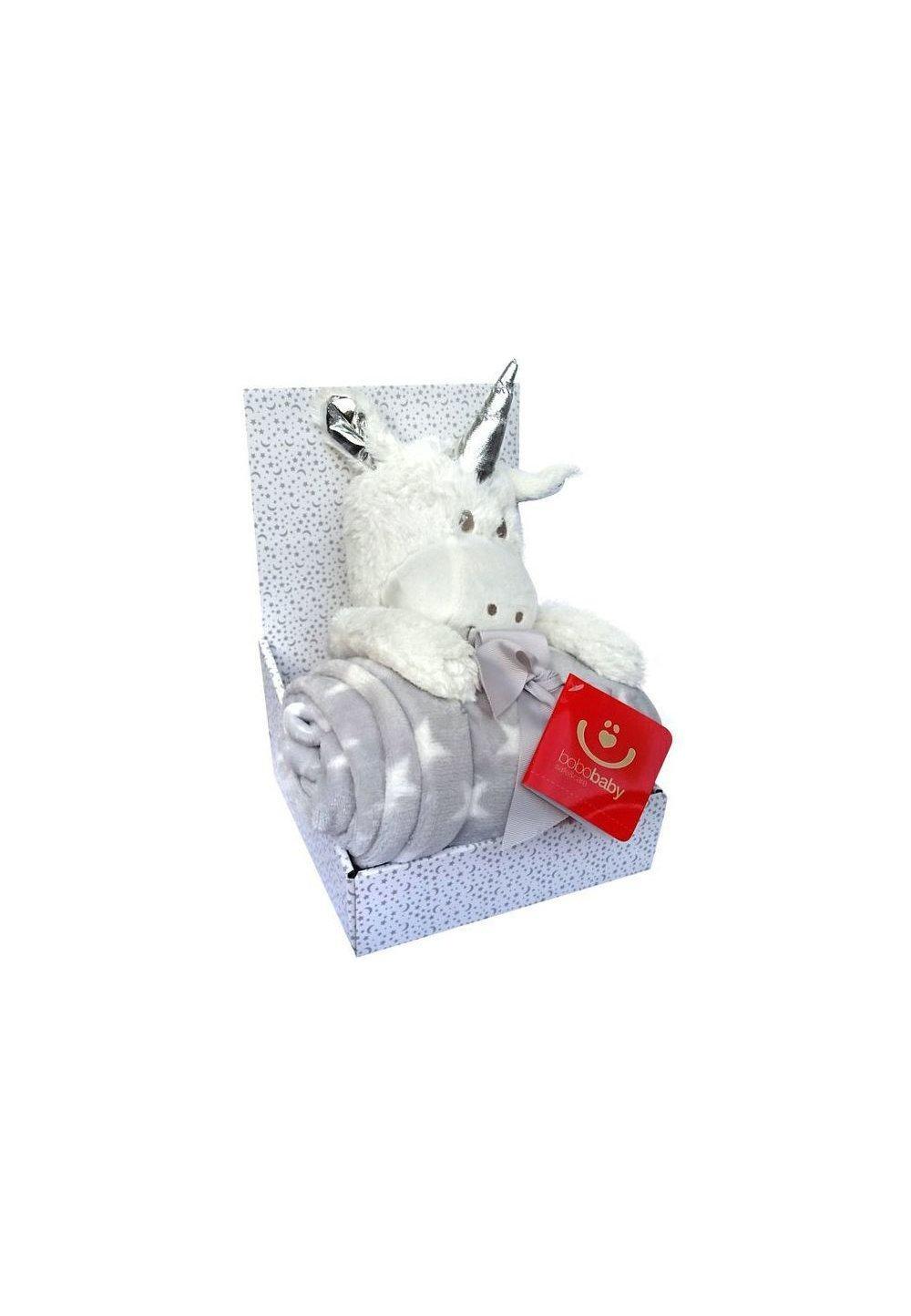 Paturica cu jucarie, unicorn alb de plus, 75x100 cm