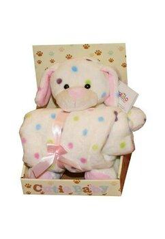 Paturica, Cutie Baby, cu ursulet roz, 100x70cm