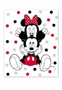 Paturica flecee, Minnie and Mickey, alba cu buline, 140x100 cm