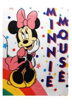Paturica fleece, Minnie Mouse, alba cu stelute, 140 x 100 cm