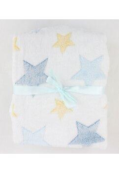 Paturica pluss, poliester, alba cu stelute albastre, 75x150 cm