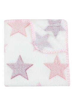Paturica pluss, poliester, alba cu stelute roz, 75x150 cm