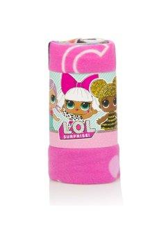 Paturica, polar, Lol cu inimioare, roz, 100 x 150 cm