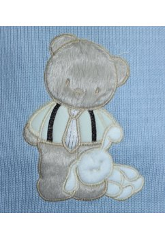 Paturica tricotata, cu plus, albastra deschis, 85x95 cm