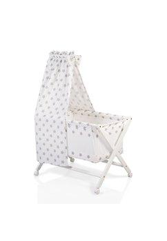 Patut bebe, lemn alb, cu saltea