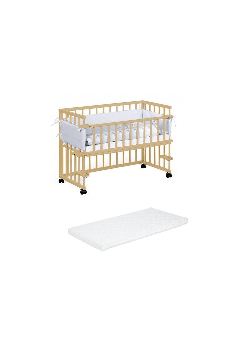 Patut bebe lemn, Piccolo, pin, 95x45 cm + Saltea patut, Picolo,90x45 cm imagine