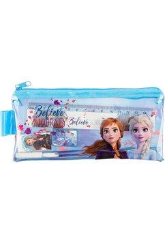 Penar transparent cu accesorii, Ana si Elsa, albastru