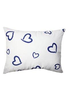 Perna, alba cu inimioare mari albastre, 30x40cm