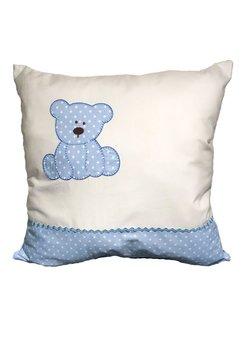 Perna brodata cu ursulet, albastru, 40 x 40 cm
