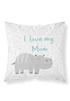 Perna, I Iove my mom, turcoaz, 40x40 cm