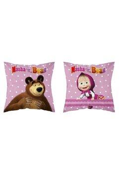 Perna, Masha si Ursul, roz cu buline albe, 40x40 cm