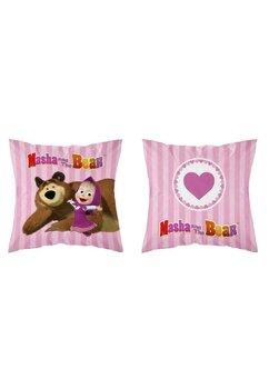 Perna, Masha si Ursul, roz cu dungi, 40x40 cm