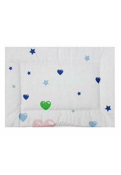 Perna slim, alb cu inimioare albastre, 37x28cm