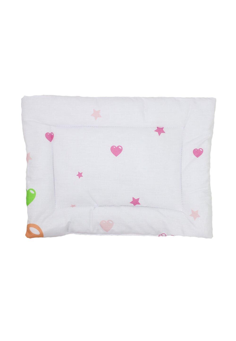 Perna slim, alba,inimioare cu stelute roz, 37 x 28 cm imagine
