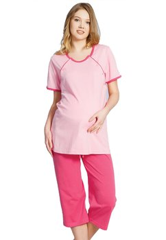 Pijama alaptat, roz deschis, pantalon 3/4, roz inchis
