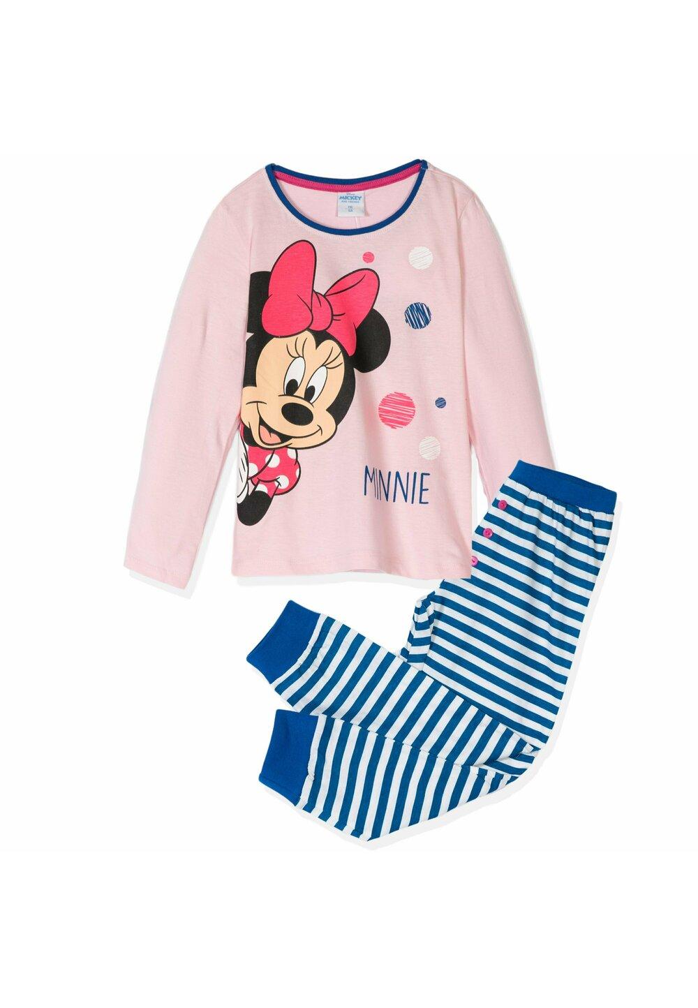 Pijama cu maneca lunga , roz cu buline colorate imagine