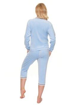 Pijama cu pantalon 3/4 velur, albastru deschis