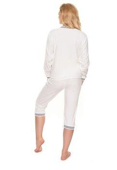 Pijama cu pantalon 3/4 velur, ivory