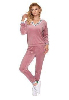 Pijama cu pantalon lung velur, roz