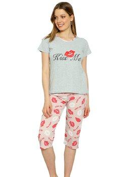 Pijama femei, pantalon 3/4, Kiss Me, gri cu roz