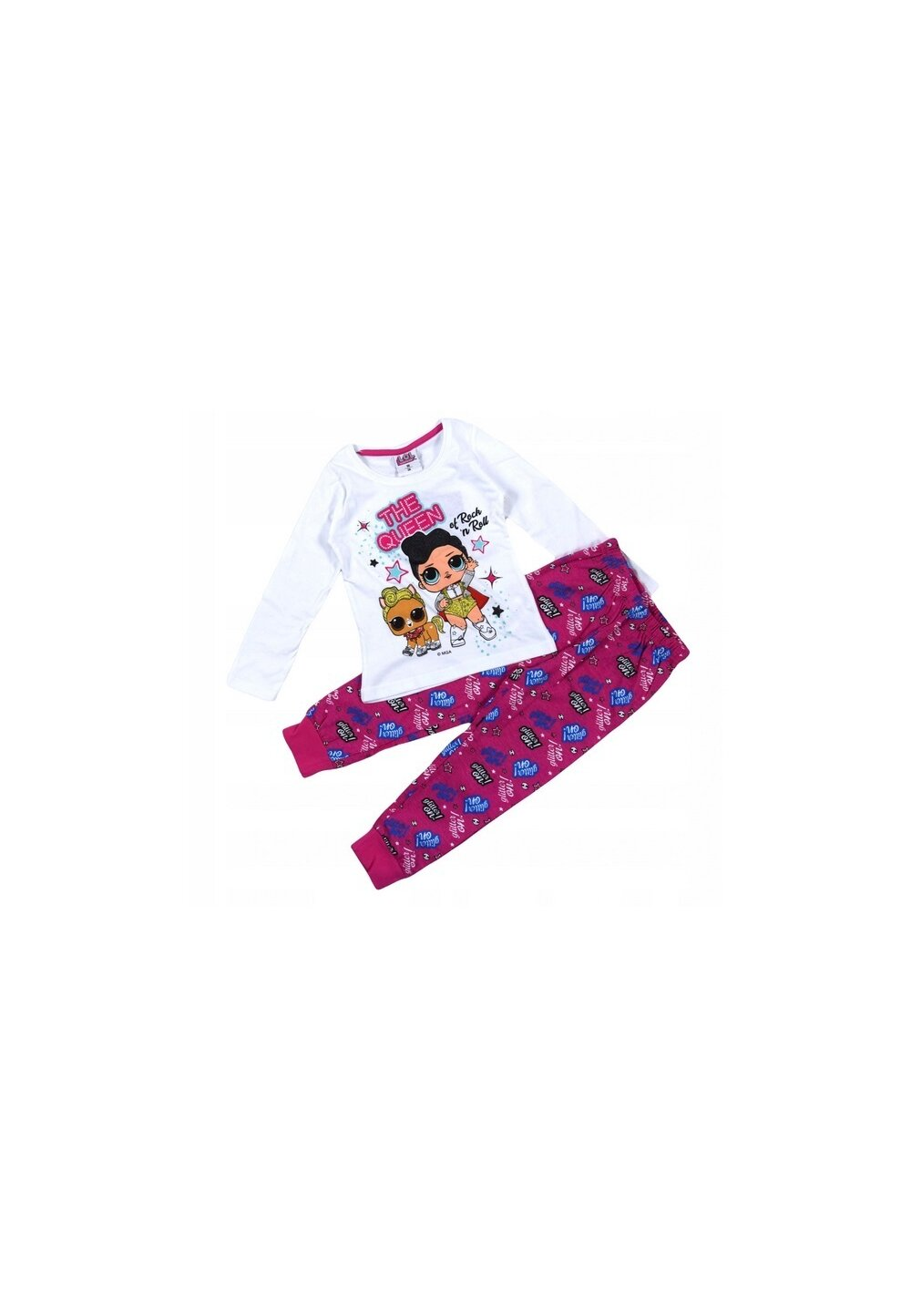 Pijama, LOL Rock, alb cu roz imagine