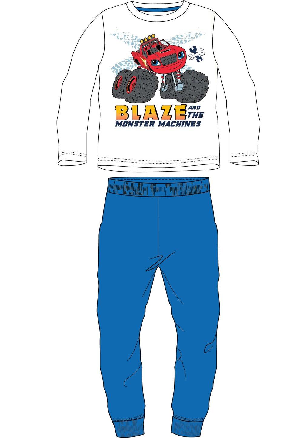 Pijama maneca lunga, Blaze, alb cu albastru
