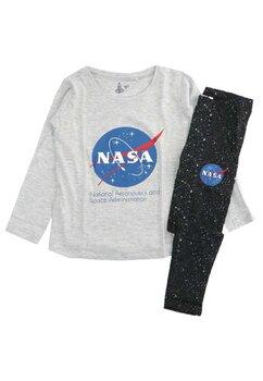 Pijama maneca lunga, bumbac, cu imprimeu, Nasa, gri