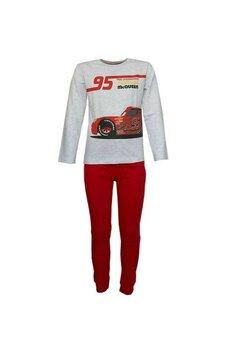 Pijama maneca lunga, Cars 95, gri cu rosu