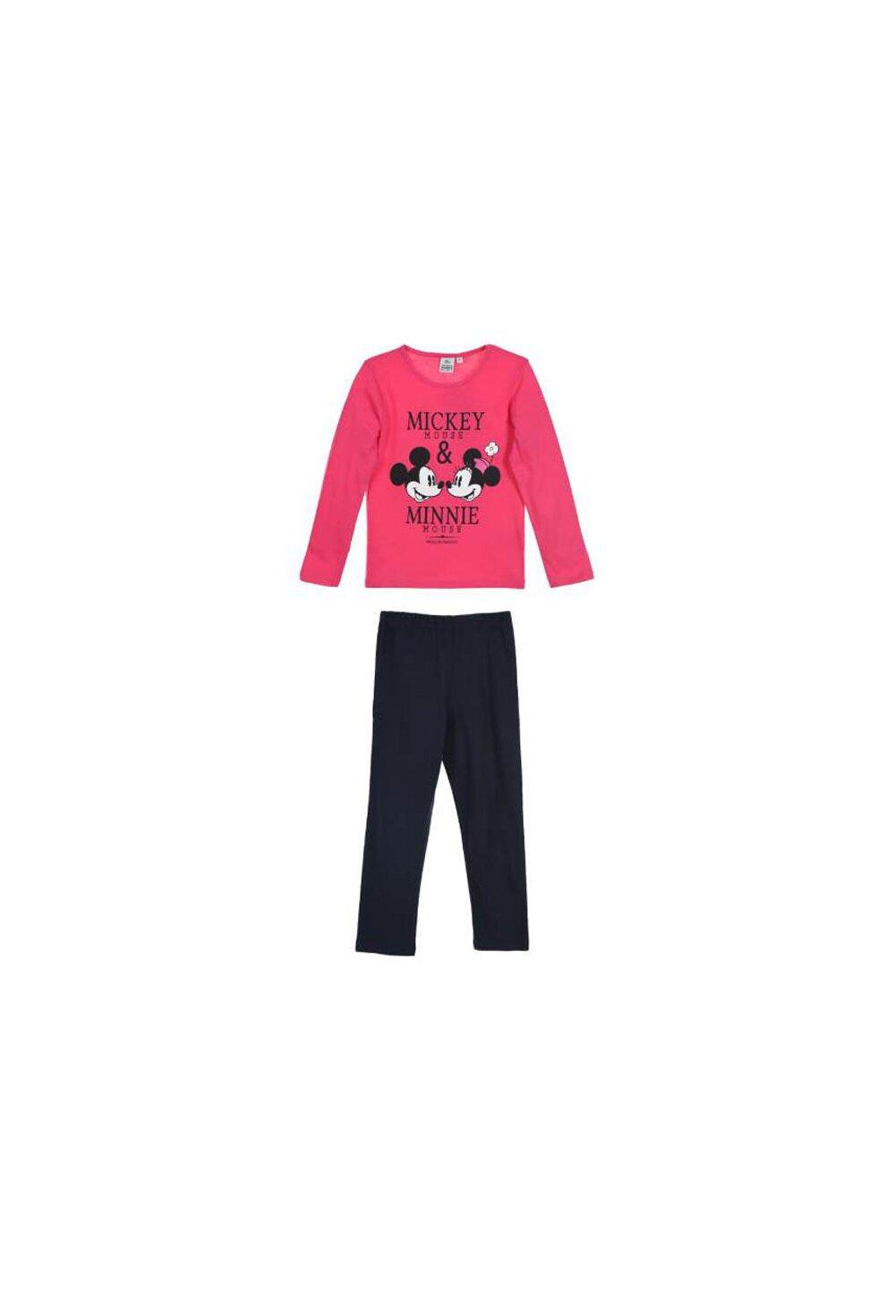 Pijama, maneca lunga, Mickey and Minnie Mouse, roz imagine