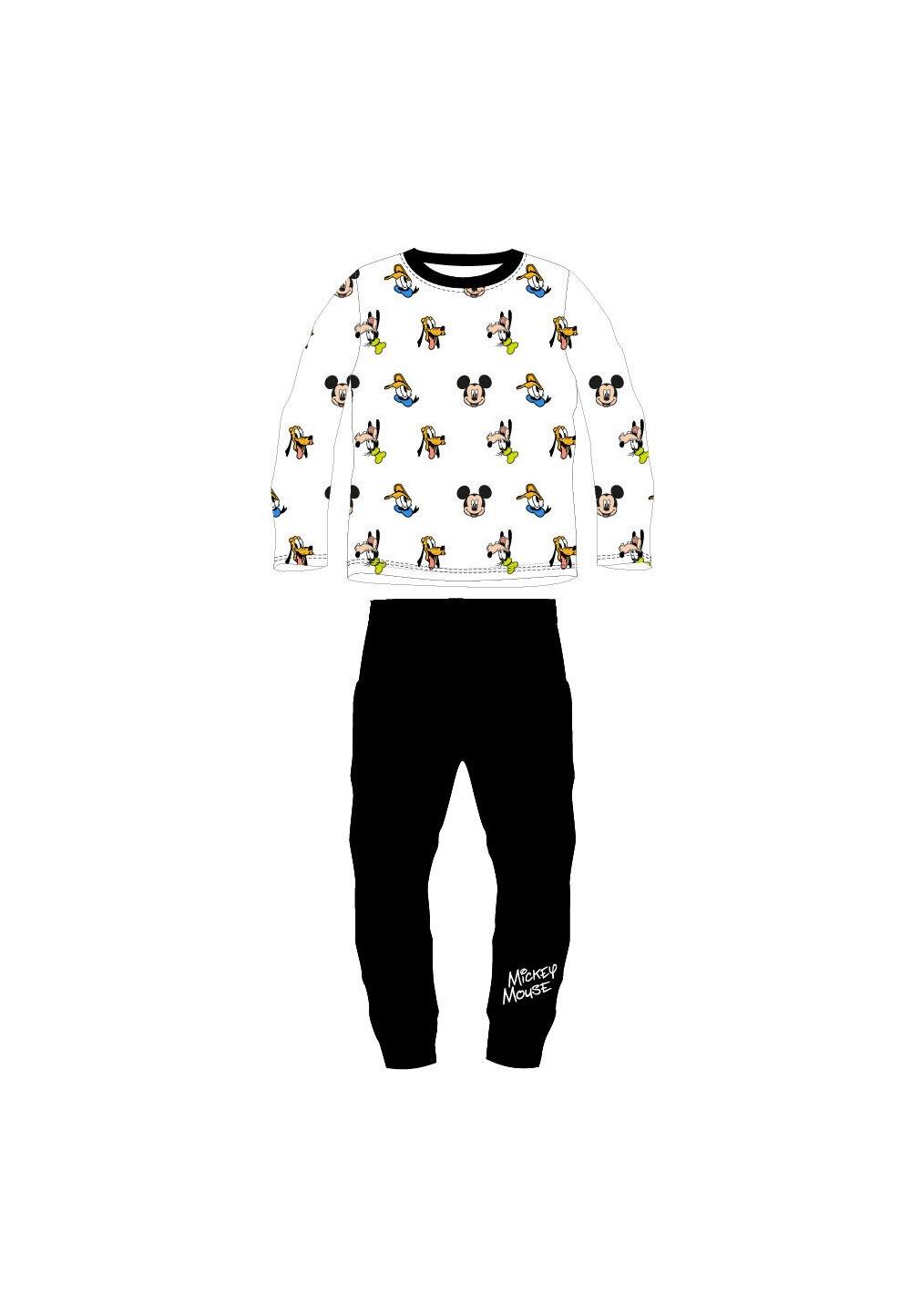 Pijama maneca lunga, Mickey si prietenii, alb cu negru