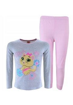 Pijama maneca lunga, Milady, gri cu roz