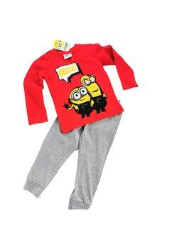 Pijama maneca lunga, Minions, Bello, rosu cu gri