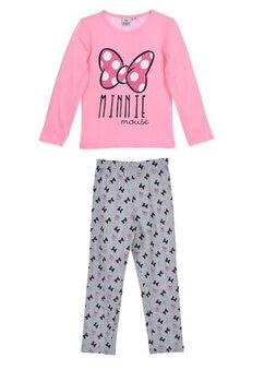 Pijama, maneca lunga, Minnie, roz cu fundita roz