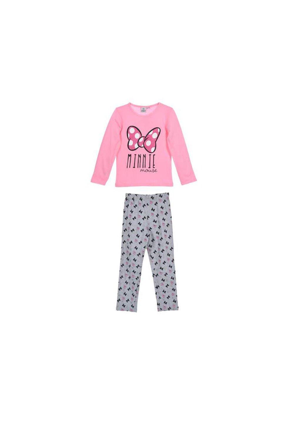 Pijama, maneca lunga, Minnie, roz cu fundita roz imagine