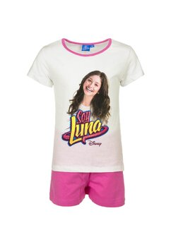 Pijama maneca scurta, alb cu roz, Soy Luna