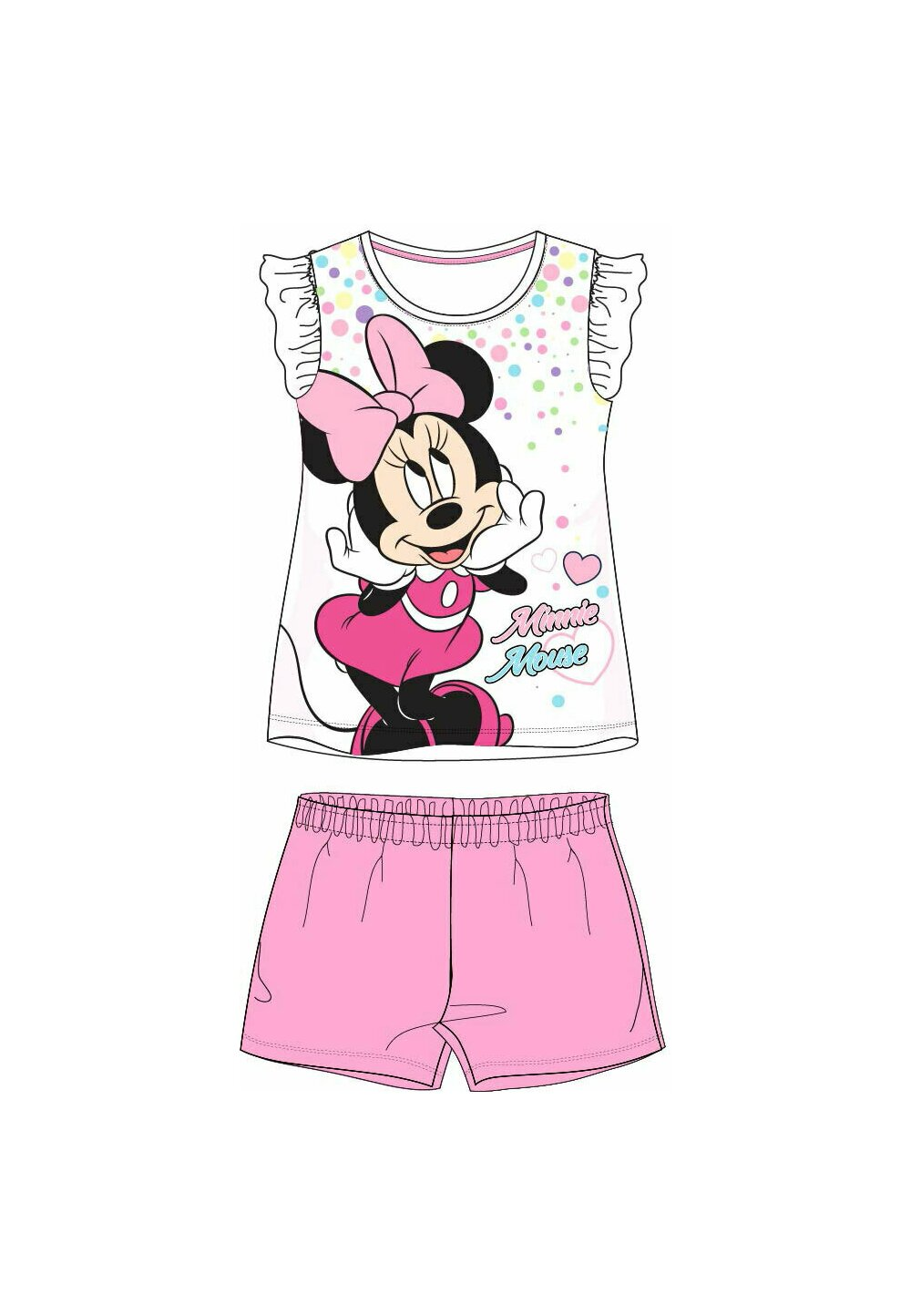 Pijama maneca scurta, alba cu buline colorate imagine