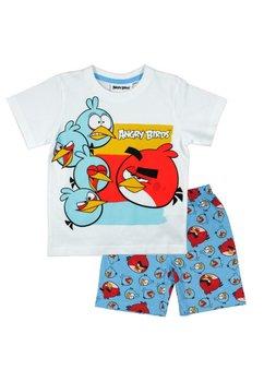 Pijama, maneca scurta, Angry Birds, alb cu albastru