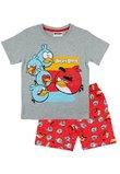 Pijama, maneca scurta, Angry Birds, gri cu rosu