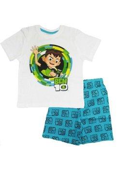 Pijama, maneca scurta, Ben 10, alb cu albastru